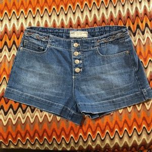 Free People Brown Belt Button Flap High Jean Short